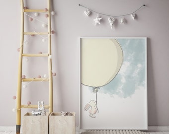 Bunny Prints |Rabbit Prints | Balloon Prints| wall art | rabbit wall art | individual print