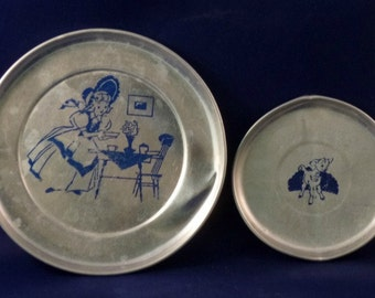 Vintage Mary Had a Little Lamb Aluminum Children's Toy Plates, 1950s (Qty 2)