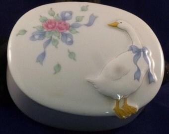 Vintage White Goose Porcelain Trinket Box, 1980s