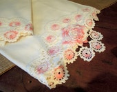 Vintage Pillow Cases / White Cotton Crocheted Floral Pillowcases / Pink White Crochet Flower Trim / Standard / Shabby Cottage Chic Boudoir