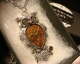 Clockwork Owl with Gears Steampunk Style Necklace (2347)