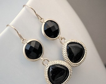 Black Dangle Earrings, Long Dangle Earring, Silver or Gold Teardrop Earrings,  Glass Round and Teardrop Onyx Black Earrings, Bridesmaid Gift