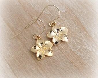 Gold Plumeria Earrings 18k Gold Vermeil 14k Gold Filled French Ear Wire - Hawaii Jewelry Modern Minimalist