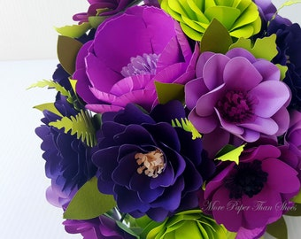 Paper Bouquet - Paper Flower Bouquet - Paper Flowers - Wedding Bouquet - Shades of Purple w/ Green  - Customize Your Colors - Made To Order