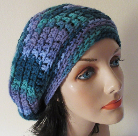Green  and Purple Slouchy Hat, Crocheted Slouchy Hat, French Beret, Tam, Slouch Hat, Slouch Beanie, Women's Cold Weather Slouchy Beanie