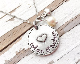 Hand Stamped Mommy Jewelry Mothers Necklace Name Pendant grandmothers garden artisan jewelry christmas gift exchange for her pewter heart