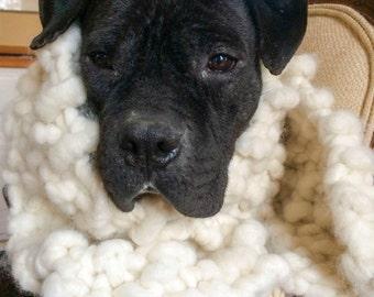 Natural Creamy Chunky Alpaca Scarf, Oversized Knit