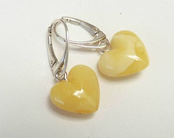"Baltic Amber Butterscotch Heart Earrings Dangling Milky Natural Untreated 1.26"" 2.8 gram 925 Silver"