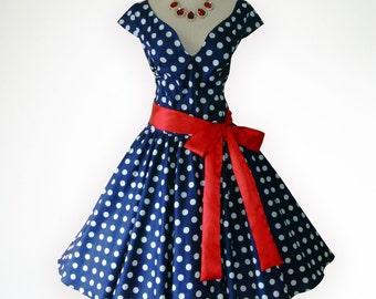 Joyful Blue & White Polka Dot 50s Pin up Rockabilly Swing Dress Full Swing Skirt