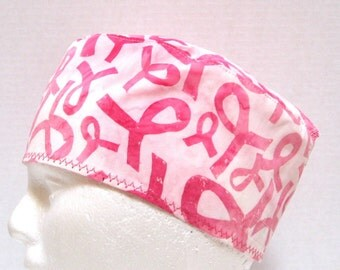 Scrub Hat or Surgical Cap Pink Ribbons of Hope
