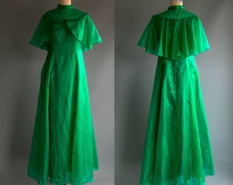 Vintage 70's Emerald Green Sheer Layered Maxi Dress/ Gown  High Fashion Dress Up Women's Medium Large