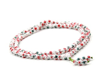 Tibetan Buddhist 108 8mm Porcelain Flower Leaf Prayer Beads Mala Necklace  ZZ417
