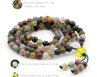4mm 108 Indian Agate Charm Beaded 108 Prayer Beads Gemstone Tibet Buddhist Mala  ZZ220
