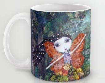 WOODLAND FAIRIES, Art Coffee Mug, Fairy Art, Garden Fairy, Fantasy Art Mug, Happy, Positive Art Quote, Art, Unique Art Mug, Alicia Hayes Art
