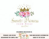 princess logo design gold foil crown logo watercolor flower logo photography logo boutique logo premade logo event planner logo party logo