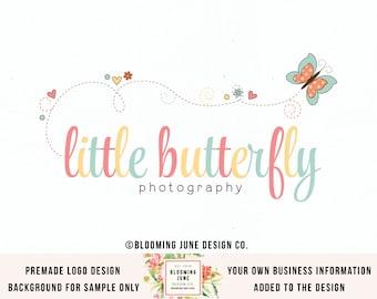 butterfly logo handdrawn logo premade logo photography logo children's boutique logo baby logo sewing logo bespoke logo planner shop logo
