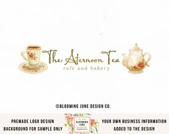 tea party logo tea salon logo tea pot logo tea cup logo gold foil logo watercolor logo cafe logo bakery logo premade logo party planner logo