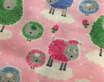Pink Sheep - Cotton FLANNEL Fabric - BTY