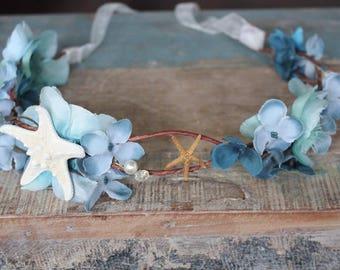 Beach Crown, flower tiara, starfish beqdpiece, destination wedding, ivory, blue, summer, bride, hair accessory, accessories, wedding, bridal