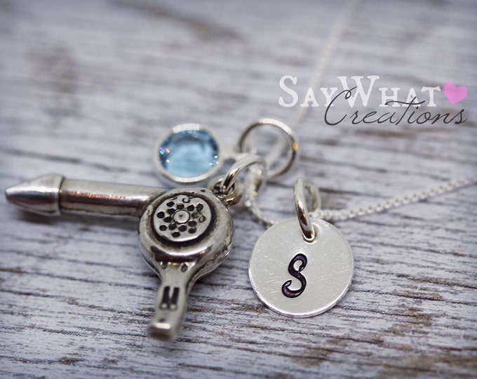 Sterling Silver Hairstylist Necklace with Blow Dryer Charm