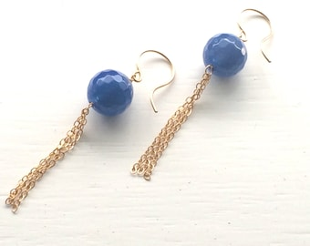 Sjans gold (goldfilled) earrings with blue jade -SALE-