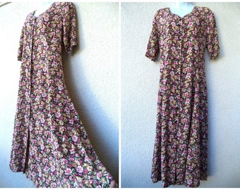 1990s MAXI DRESS. Romantic Dress. Boho Dress. Long Dress. 1930s Style Dress. Sweeping. Grunge Revival Dress. Floral Dress. Corset Lacing. L