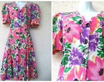 1980s DAY DRESS. 1980s Floral Dress. Full Skirt. Bright Floral Dress. Garden Party Dress. Tea Party Dress. Cotton Dress. 1940s Style Dress