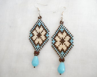 Beadwoven long earrings, Toho seed bead earrings, Ethnic jewelry, Peyote earrings, Beadwork, Summer trends, Gift for her, Handmade Earrings.