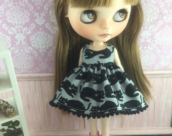 Blythe Dress - Black Cats