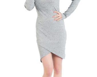 Fitted Dress, Long Sleeve, Asymmetrical Front Hem, Heather Grey Stretch Rib