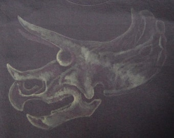 Triceratops Skull Fossil Dinosaur TShirt - Bleach Painted - Custom Gift - Made to Order - Dino Skull - Natural History - Gifts for Him