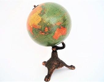 "Vintage World Globe 1929 8""  W.A.K./Nystrom Terrestrial Globe"