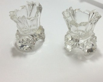 Two Vintage Crystal/Cut Glass Toothpick Holders