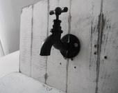 rustic tap hook black wall decor wall hook shabby decor coat hook bathroom hook towel hanger cast iron hook black wall hook