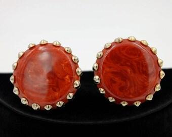 Paprika Bakelite Earrings with Studded Border
