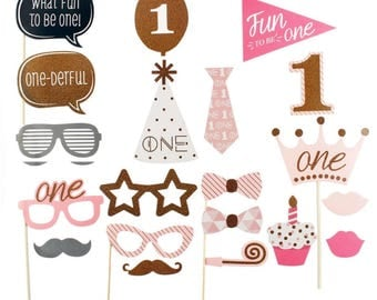 First Birthday Girl Photo Props - Birthday Party Photo Props - OilPatchFarm - Selfie Photo Props