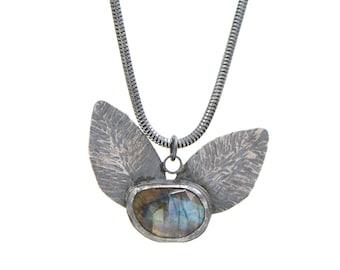 Labradorite, Hammered, Sterling Silver, Botanic, Necklace