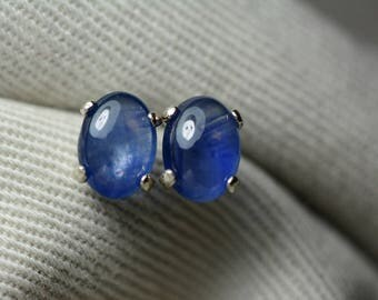 Sapphire Earrings, Blue Sapphire Cabochon Stud Earrings 2.08 Carats Appraised at 925.00, September Birthstone, Sterling Silver, Natural