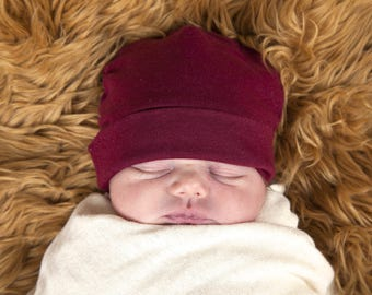 Baby Hat -  Ruby Red - Organic Baby -  Eco Friendly  - Newborn - Baby Shower