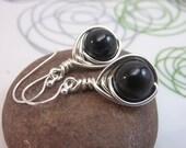Black tourmaline earrings - sterling silver wire wrapped gemstone earrings  black earrings - argentium 935 sterling silver