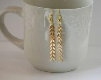 Gold Chevron Arrows Drop Dangle Earrings