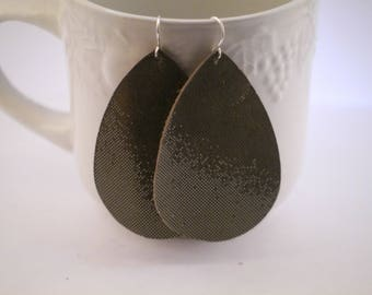 Taupe Shimmer Sparkle Leather Teardrop Drop Earrings