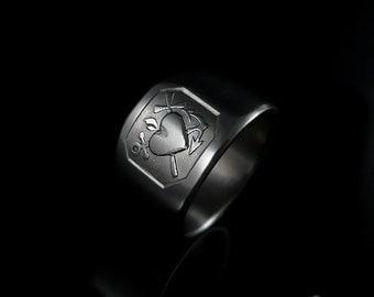 Titanium handmade Men's signet ring Faith, Hope, Love