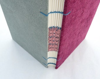 Burgundy grey journal, Coptic, A6,  woven spine, notebook, book, faux suede, chenille