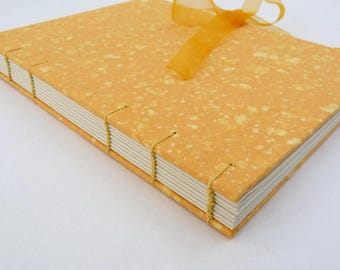 Marmalade, notebook, journal, A5, handmade paper, recycled, organza, coptic