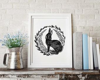 Rabbit Illustration, Rabbit Art, Rabbit Drawing, Rabbit Drawing, Bunny Print Rabbit Illustration, Rabbit Art, vintage Print, nature art