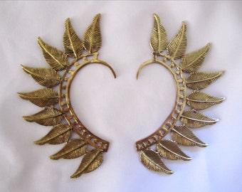 Feather Ear Cuff, Brass Plated, Ear Wrap, Faerie, Angel, Wings