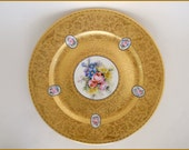 "Antique  Rosenthal German Porcelain Gold Charger Plate Hand Painted Florals ~ 10 /3/4""   c. 1900"