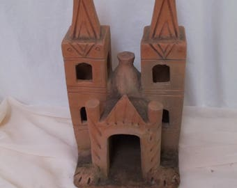 Vintage Mexican Folk Art Mission, Church, Red Clay Pottery