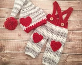 Baby Pom Pom Stocking Beanie and Heart Pants/Valentine's Day Photo Prop/Baby Pants with Suspenders- 0-3 Month Size READY TO SHIP